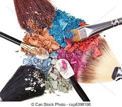 position with makeup brushes and broken multicolor eye shadows csp6398198