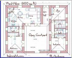 u shaped house plans   central courtyard   Google Search   U     bedroom house plans   courtyard   Google Search