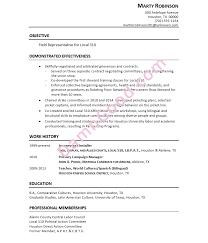 Marty's Resume for a Union Field Representative