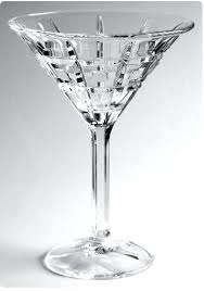 2 crystal martini glasses with sticker clear cut waterford colored