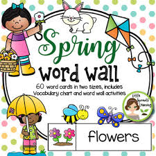 Spring Photo Cards Spring Word Wall 60 Word Cards 2 Sizes Plus Word List And Word Work Pages