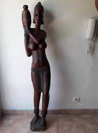 big african woman wooden statue wood