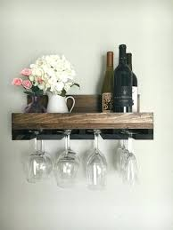 wood wine glass holder rack shelf cherry