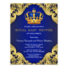 Royal Invitation Template Fancy Prince Baby Shower Blue And Gold Invitation