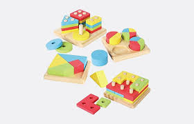 Joyin Toy 4 in 1 Wooden Educational Shape Color Sorting Puzzles -- gifts for 12 Best 1-Year-Old Baby Gift Ideas | Fatherly