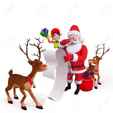Santa And Reindeer With Big Gift List Stock Photo Picture And