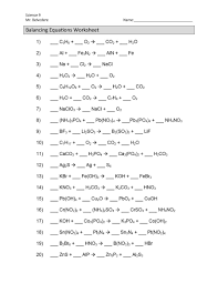 balancing chemical equations worksheets answers intended for worksheet pdf balanci full size