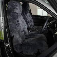 sheepskin seat cover for cars grey color