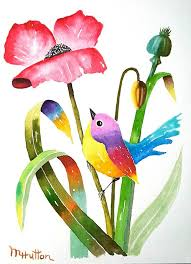 original watercolor painting birds and flowers curious bird