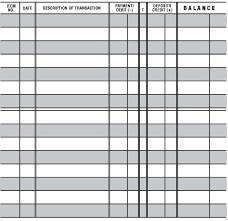 Check Register Template Free Blank Business Checkbook Register Check