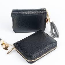 women genuine leather card holder mini wallet tassel pendant zip coin purse credit card case