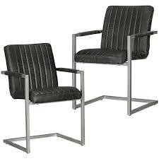 2x Stuhl Set Polsterstuhl Esszimmerstuhl Freischwinger Schwinger Metall Schwarz