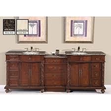 silkroad exclusive english chestnut 90 inch stone top double sink bathroom vanity