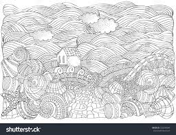 alone house and ss seascape coloring book page for a4 size