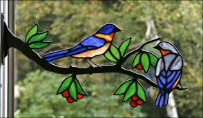 eastern bluebirds in stained glass by chippaway art glass