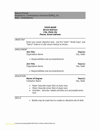 Resume Format Blank Download And 56 Fresh S Resume Format Word File