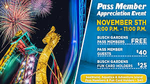 pass member night for more information on busch gardens