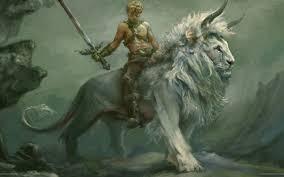 Warrior on a lion wallpaper