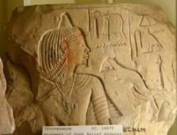 egyptian adze. fragment of a tomb relief showing funerary ritual scene. it depicts meat-offering the \ egyptian adze h