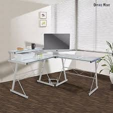 Uenjoy PC L Shape Computer Glass Desk Corner Laptop Table