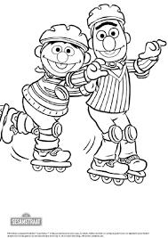 Kleurplaat Bert En Ernie Gaan Rolschaatsen Zappelin