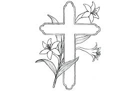 Cross With Rose Coloring Page With Coloring Pages Crosses Stained