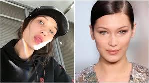 bella hadid split image no makeup