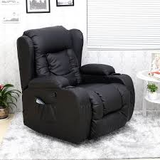 caesar 10 in 1 winged leather recliner chair rocking massage swivel heated gaming armchair black co uk kitchen home