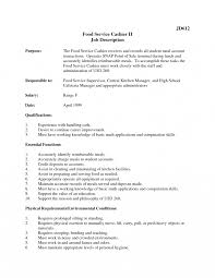 Fast Food Cashier Job Description Resume