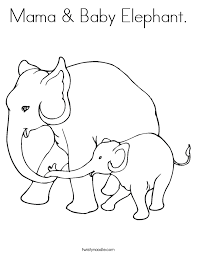 Mom And Baby Elephant Coloring Pages