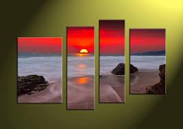 wall art ideas design wooden canvas 4 piece oil painting red sunset orange round ocean water on 4 piece canvas wall art sets with wall art ideas design top 4 piece wall art set 4 piece painting 4