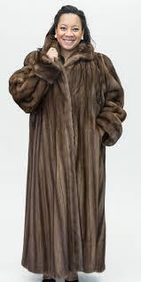 natural brown lunaraine letout female 52 full length mink coat size 28