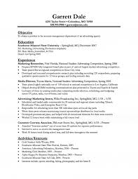film resume samples advertising resume entry level new grad