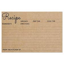 Recipe Cards Size 4x6 Kraft Brown Card For Rustic Kitchen Or Bridal Shower Set Of 25