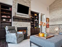 inspiration for a transitional living room remodel in seattle with a stone fireplace