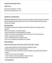 Housekeeper Resume Stunning Free Download Residential Housekeeper Resume Housekeeping Manager