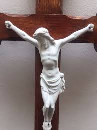 large and beautiful porcelain bisque christ corpus christi on wooden cross church