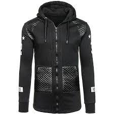 jummoonmen leather winter warm hooded sweatshirt coat jacket outwear sweater bk m black