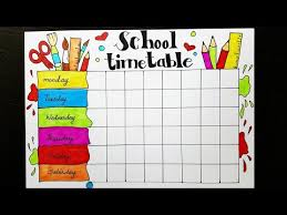 Timetable Chart Ideas School Timetable Design How To Draw And Color Easy Step By