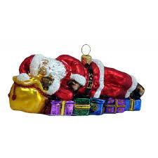 Christbaumschmuck Weihnachtsmann Ruht Auf Seinen Geschenken
