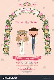 Cartoon Wedding Invitation Cards Designs Rustic Blossom Flowers Cartoon Couple Wedding Invitation