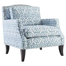 blue white accent chairs with arms and large back on black wooden base having rectangle cushion