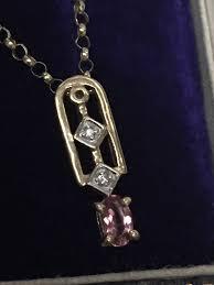 italian 9ct yellow gold pink tourmaline diamond pendant 16 belcher chain