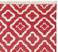 lily recycled yarn indoor outdoor rug red