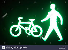 Green Light Cycle Green Man Go Pedestrian And Cycle Traffic Light Sign Stock