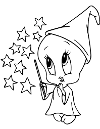 Baby Tweety Witch Coloring Page Sylvester Tweety Bird