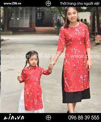 Áo dài đôi mẹ và bé hoa đào tết - ZIN21ao dai doi me va be hoa dao tet
