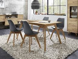 contemporary furniture uk. dining table in choice of oak wood effect, matt stone with effect accents contemporary furniture uk