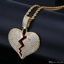 whole mens necklace hip hop jewelry with zircon iced out chains vine high grade love heart pendant necklace snless steel jewelry whole gold