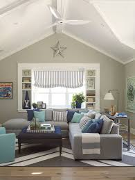 beach style living room furniture. Cool Grey Sectional Couch In Family Room Beach Style With Living Paint Furniture